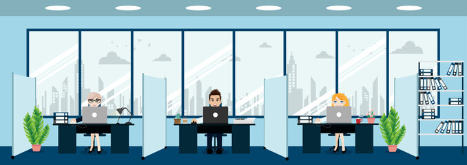 Business people ,modern office interior with boss and employees. Creative office workspace and cartoon character style vector