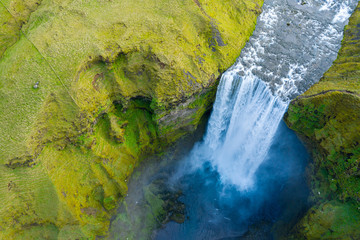 Aerial view of Skogafoss waterfall, Iceland by drone
