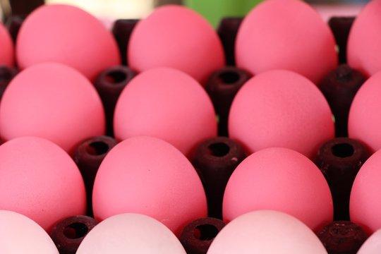 Preserved egg in the basket at market