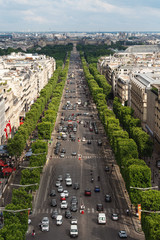 Wall Mural - Landscape of Paris city in France with Champs Elysees street in summer