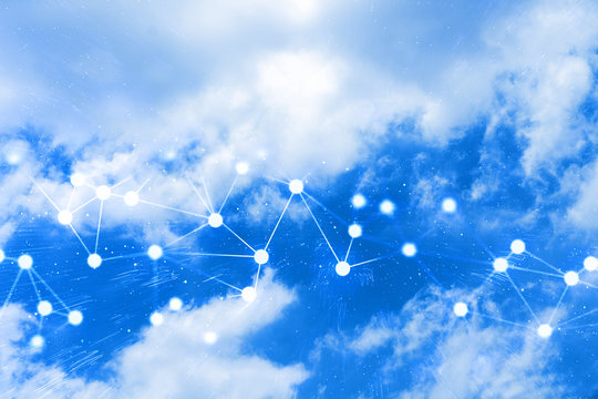 cloud storage server online social network, sky backround, futuristic technology, data deep learning, binary ai robotic system, hacker security privacy digital