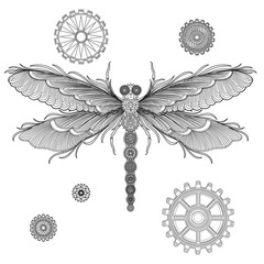 Beautiful background with Dragonfly in the style of steampunk. Black and white pattern for coloring book for kids and adults. Vector illustration.