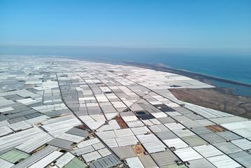 Aerial panorama greenhouses in the Almerimar, Spain