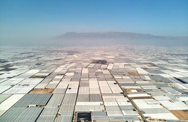 Aerial view greenhouses in the Almerimar, Spain