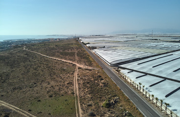 Lot of polythene hothouses in the Almerimar, province Almeria. Spain