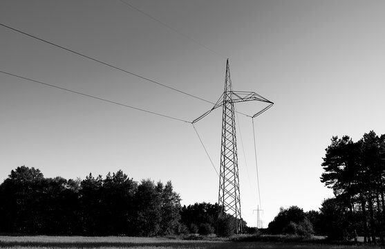 Power Lines: Special grid tower to change the direction of the overhead high-voltage direct-current transmission line across the Danish Kattegat island of Laesoe