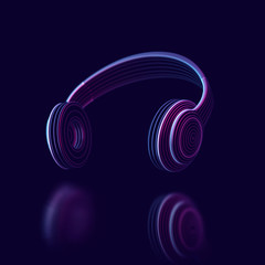 3D headphones on dark background. Abstract visualization of digital sound and virtual reality. Concept of electronic music listening. Digital audio technology equipment. EPS 10 vector illustration.