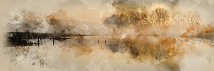 Digital watercolour painting of Panorama landscape of lake in mist with sun glow at sunrise