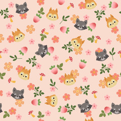 Forest/woodland animals seamless pattern. Children's room wallpaper. Kid's room wall art
