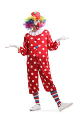 Cheerful clown standing and posing