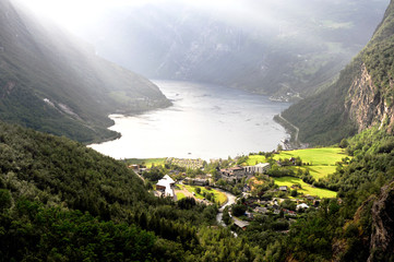 Aerial view of Geirangerfjord on summer