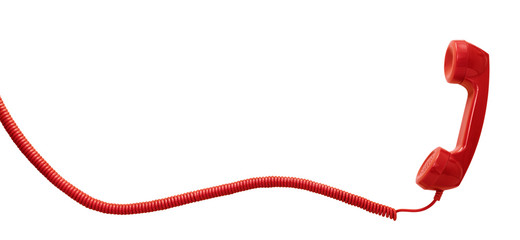 Red vintage telephone handset isolated on white background with copy space