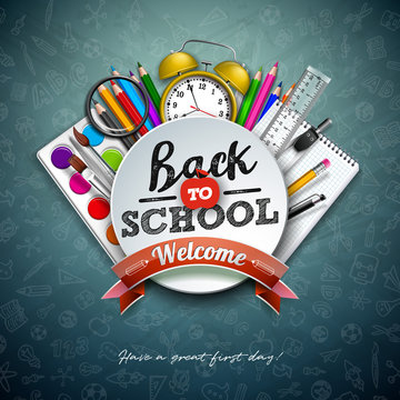 Back to school design with colorful pencil, scissors, ruler and typography letter on chalkboard background. Vector illustration with education elements and hand drawn doodles for greeting card, banner