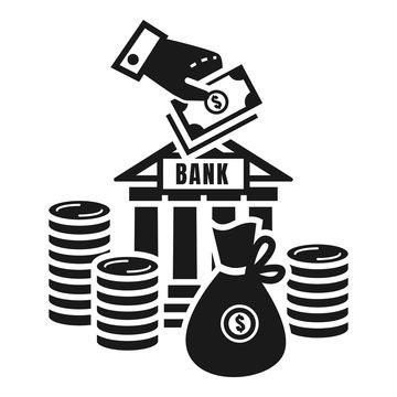 Money deposit icon. Simple illustration of money deposit vector icon for web design isolated on white background
