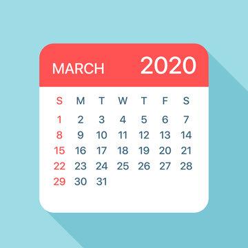 March 2020 Calendar Leaf - Vector Illustration