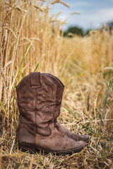 Cowboy boot in agricultural field