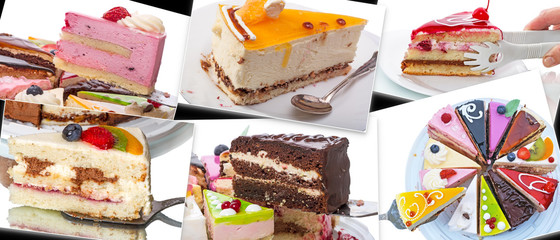 Various pieces of cake in the photo