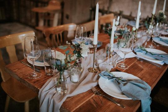 table decoration on a vintage boho wedding