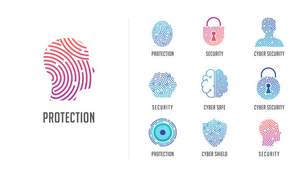 Fingerprint scan logo, privacy, cyber security ,identity information and network protection. Person head, brain, cloud and lock icons. Vector icon design