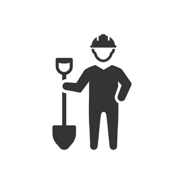 Worker with shovel icon