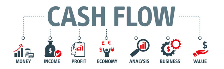 Banner CASH FLOW concept with icons