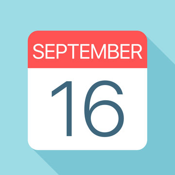 September 16 - Calendar Icon. Vector illustration of one day of month