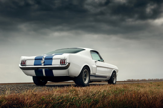 Saratov, Russia - October 17, 2014: Old car Ford Mustang Shelby GT350 is parked on the countryside road