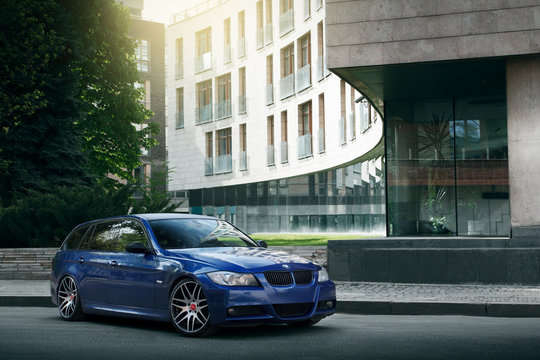 Moscow, Russia - May 10, 2015: Blue car BMW 5 series E90/E91 is parked on asphalt road in the city Moscow at daytime