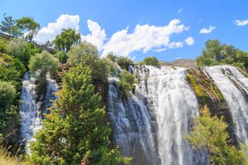 Tortum (Uzundere) waterfall from middle part in summer season in Erzurum, Turkey