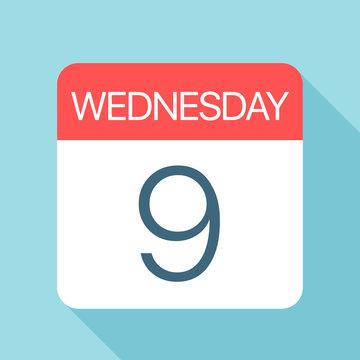 Wednesday 9 - Calendar Icon. Vector illustration of week day paper leaf. Calendar Template