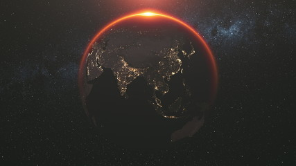 motion graph of approaching Earth silhouette with illuminated cities on mainlands against Sun creating halo. 3d animation. Science and technology concept. Elements of this media furnished by NASA