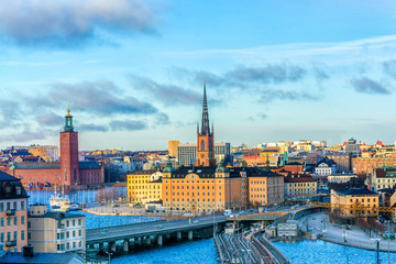 Fotobehang Stockholm Cityscapes of the city of Stockholm and a panoramic view of the Old Town (Gamla Stan) in Stockholm, the capital of Sweden