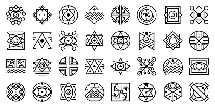Alchemy icons set. Outline set of alchemy vector icons for web design isolated on white background