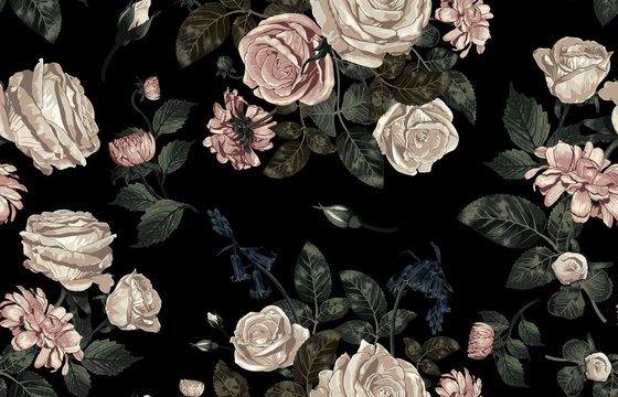 Elegant pattern of blush toned rustic flowers isolated in a solid background great for textile print, background, handmade card design, invitations, wallpaper, packaging, interior or fashion designs.