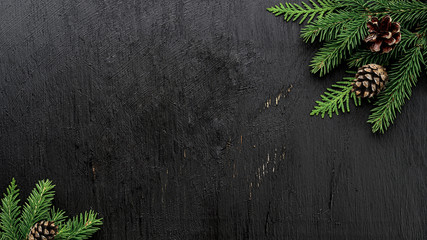 Christmas Fir tree branches and pine cones on a black wooden board