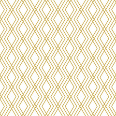 Seamless geometric vector pattern with linear rhombuses in gold color