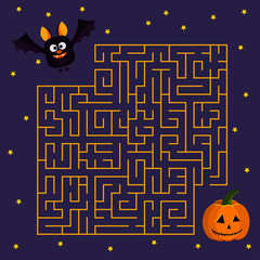 Help cute bat to find right his friend halloween pumpkin in labyrinth Vector illustration in cartoon flat style.