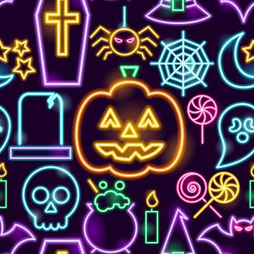 Halloween Neon Seamless Pattern