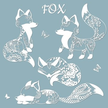 Set of foxes and butterflies. Templates for laser cutting. With patterns of flowers and leaves. Plotter and screen printing.