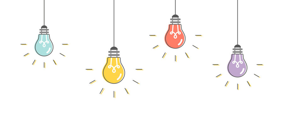 Light bulbs hanging. Vector illustration, flat design