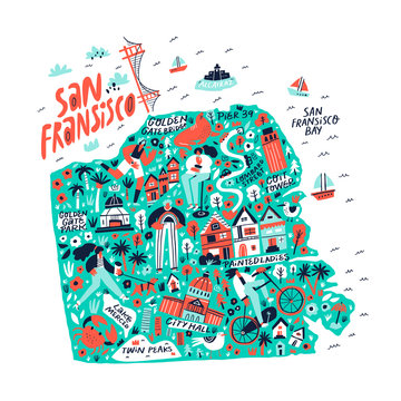 San Francisco creative travel map flat hand drawn illustration. American state tourist landmarks and famous places names lettering and doodle drawings. USA tourism poster cartoon concept