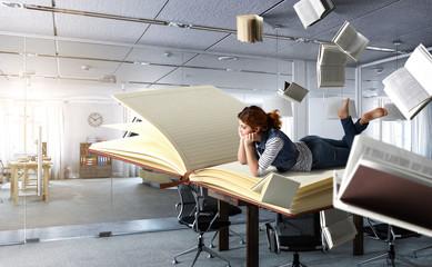 When reading takes you away. Mixed media