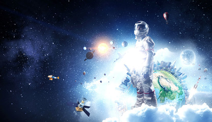Fototapete - Spaceman and his mission. Mixed media
