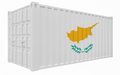 3D Illustration of Cargo Container with Cyprus Flag
