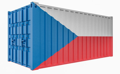 3D Illustration of Cargo Container with Czech Republic Flag