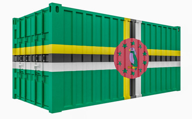 3D Illustration of Cargo Container with Dominica Flag