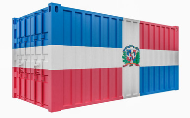 3D Illustration of Cargo Container with Dominican Republic Flag