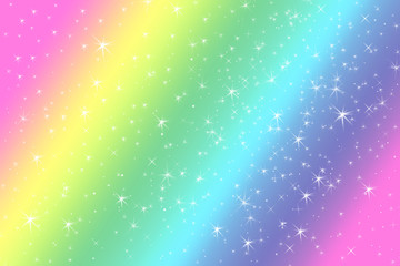 Rainbow color abstract background with soft light stars presented background of dream concept on sweet content. The rainbow color spread direction all around the picture make this background colorful.