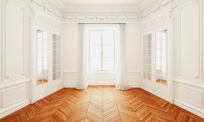 Obraz Classic wall interior and modern frame with parquet, empty room, 3d rendering - fototapety do salonu