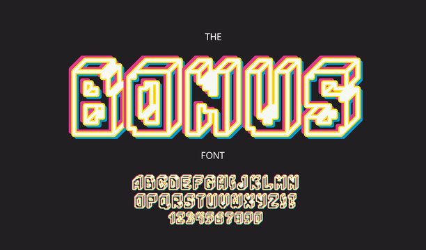 Vector bonus font 3d bold style